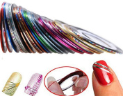 drawihi 32 Pieces Multicolor Mixed Colours Rolls Striping Tape Line Nail Art Decoration Sticker DIY Nail Art