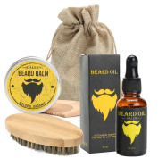 Beard Care Kit,LuckyFine Moustache Care Gift Set Beard Comb Beard Brush Balm Oil Grooming Set for Men 4 Pcs