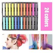 ROKOO 24 Pcs/Set Temporary Hair Chalk Non-Toxic Rainbow Colours Dye Pastel Kit Colour Essentials Set