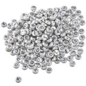 YC 500pcs 7mm Mixed Silver Grey Round Acrylic Flat Letter Beads Alphabet Beads