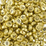 YC 500pcs 7mm dia Acrylic Flat Cylindrical Alphabet Beads Antique Gold Beads Black Letter