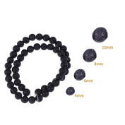 CosCosX 240 Pieces Round Black Lava Stone Round Beads 4mm 6mm 8mm 10mm for Jewellery Making,Loose Beads
