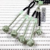 Umetake Buddhist prayer beads for men Soka Gakkai juzu PC Black agate PC Green jade and Light green woven balls Buddha rosary Nenju pouch free of charge