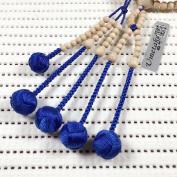 Umetake Buddhist prayer beads for men Soka Gakkai juzu Beech wood and Royal blue woven balls Buddha rosary Nenju pouch free of charge