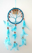 Dream Catcher - Tree of Life - Wood Beads and Suede Ring ~ BLUE ~