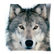 Grey Wolf Face Zippered Pillow Cases Cover Cushion Case 46cm x 46cm