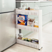 bakaji Slim Narrow Space Saver Storage Kitchen Bathroom Utility 3 Shelves and 4 Wheels, Shelf Multi-Purpose Trolley Trolley with Wheels