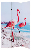 FEBLAND Flamingo Room Divider, Canvas/Wood Frame, Pink, 7 x 40 x 180 cm