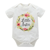 Wongfon Kids Baby Big Sister T-Shirt Little Sister Romper Matching Clothing Outfit Brothers and Sisters Clothes Set For 0-7 Years