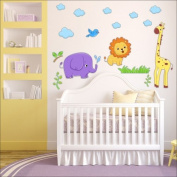 Safari, lion, elephant, bird wall stickers Nursery wall decal Childrens Wall Stickers, Multi-Colour Art 216