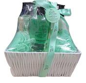 7 Piece Lily & Tate Jasmine & Green Tea Mens & Womens Luxury Spa Bath Shower Wash Beauty Green Hamper Skin Care Valentines Day Gift Set