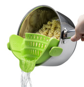 Titan Kitchen Snap 'N Strain Strainer, Clip On Silicone Colander, Fits all Pots and Bowls