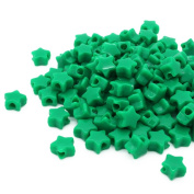 Beads Unlimited Opaque Plastic Star Pony, Green, 13 mm