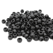 Beads Unlimited Opaque Plastic Barrel Pony, Black, 6 x 8 mm