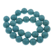 33 Turquoise Beads Ball 12 mm Howlite Semi-Precious Beads Necklace Semi-Precious Gemstone Bead Jewellery Stone for DIY Crafts G569