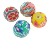 Fimo Beads Mixed Polymer Clay Beads Round 10 mm Fimo Necklace R175