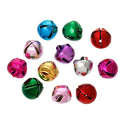 The Bead and Button Box - 15 Coloured Jingle Bells, 8mm. Ideal for Christmas decoration, card making, jewellery, scrap booking, and other craft embellishment.