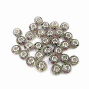 Skyllc® 10pcs Mix Colour Silver Tone Murano Lampwork Glass Beads European Charm Spacer Beads