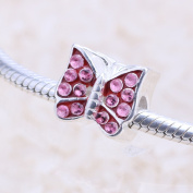 truecharms Pink Crystal Butterfly Beads Fits European Charms Bracelets