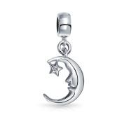 truecharms Silver Plated Moon CZ Star Dangle Charm Beads Jewellery Fits European Charms Bracelets