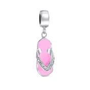 truecharms Silver Plated Pink Flip Flop Sandal Dangle Charm Beads Fits European Jewellery Charms Bracelets