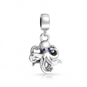truecharms Silver Plated Blue Crystal Nautical Octopus Dangle Charm Beads Fits European Jewellery Charms Bracelets