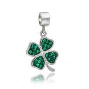 truecharms Green Crystal 4 Leaf Clover Dangle Charm Beads Fits European Jewellery Charms Bracelets