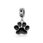 truecharms Silver Plated Black Enamel Dog Paw Animal Dangle Charm Beads Fits European Jewellery Charms Bracelets