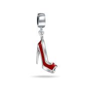 truecharms Red High Heel Shoe Crystal Dangle Charm Beads Fits European Jewellery Charms Bracelets