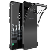Samsung S8 Case Silicone Smartlegend Transparent Clear Soft TPU Gel Cover for Samsung Galaxy S8 SM-G950 Black Flexible Crystal Metal Plating Premium Clear Anti-Scratch Ultra Light Slim Protective Skin Case Back Cover