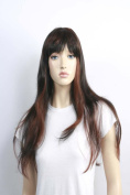 Wig women long with Highlights black/brown Bangs Straight Carnival Carnival 80's party