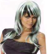 Wig women long with Highlights black/white Bangs Curly Carnival Carnival 80's party