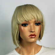 Wig women short blonde Bangs Straight Carnival Carnival 80's party