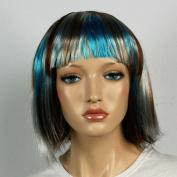 Wig women short blue brown/blonde silver Bangs Straight Carnival Carnival