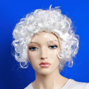 Wig women short white Curly wavy Carnival Carnival Baroque Middle Ages