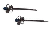 Pick A Gem Hair Accessories A Pair of Crystal Flower Hair Clips / Bobby Pins