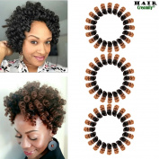 Creamily 3 Pack Kenzie Short Curly Crochet Synthetic Knit 25cm Jamaica Bounce Distorted African Black Female Whip Hair Extension