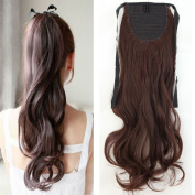 46cm Ponytal Hair Extensions Binding Curly Wave Clip in Extensions One Piece Wrap Around Tie Up for Women Beauty, Medium Brown