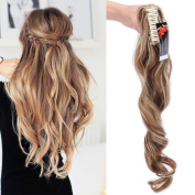 60cm Ponytail Claw on Hair Extensions Highlighted Curly Wavy Hairpiece Pony Tail Wrap Around Long Soft for Women Beauty, Light brown mix Ash blonde