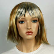 Wig women short tan with Highlights blonde silver Bangs Straight Carnival Carnival 80's party