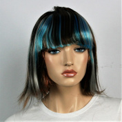 Wig women long with Highlights blue brown silver Bangs Straight Carnival Carnival