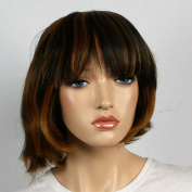 Wig women long with Highlights brown Bangs Straight Carnival Carnival