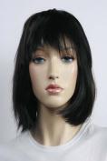 Wig women short black Bangs Straight