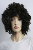 Wig women short black Bob Curly wavy Carnival Carnival 80's party