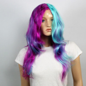 Wig women long with Highlights blue lila Side parting Curly Straight Carnival Carnival