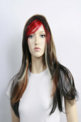 Wig women long with Highlights black/brown red Side parting Straight Carnival Carnival 80's party