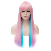 QIYUN.Z Women's Pink Blue Long Straight Wig Cosplay Anime Costume Party Wig Heat Resistant Fibre Full Wig
