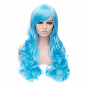 Fashion Women's Mixed Colours Hair Wigs Grass Blue Long Wavy Harajuku Style Cosplay Halloween Party Wig