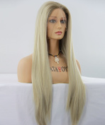 ATAYOU® Soft Touch Long Natural Straight Lace Front Wigs for Women Half Hand Tied Synthetic Wigs 60cm