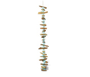 Nautical Decor Blue Arca Shell Driftwood Wind Chime 90cm